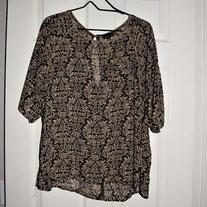 Women's Zenobia Black And Tan Blouse XL